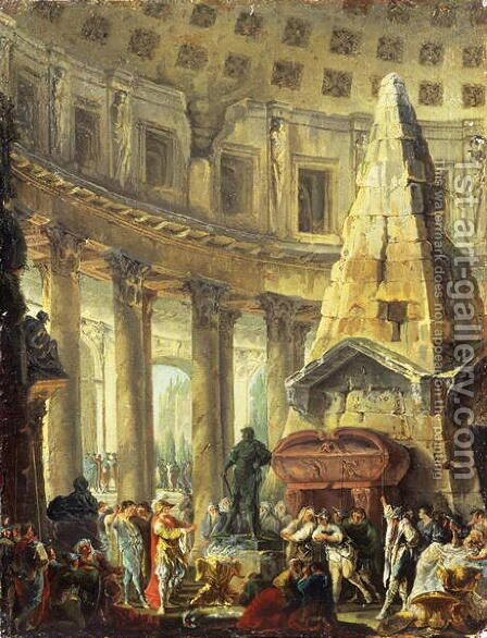 Alexander the Great visiting the Tomb of Achilles, 1755-60 by Hubert Robert - Reproduction Oil Painting