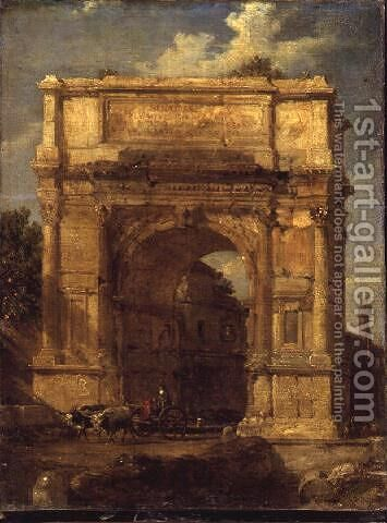 The Arch of Titus by Hubert Robert - Reproduction Oil Painting