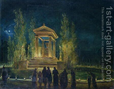 The Cenotaph of Jean Jacques Rousseau 1712-78 in the Tuileries, Paris, 1794 by Hubert Robert - Reproduction Oil Painting