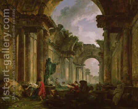 Imaginary View of the Grand Gallery of the Louvre in Ruins, 1796 by Hubert Robert - Reproduction Oil Painting