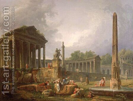 Architectural Capriccio with temple and obelisk, 1798 by Hubert Robert - Reproduction Oil Painting