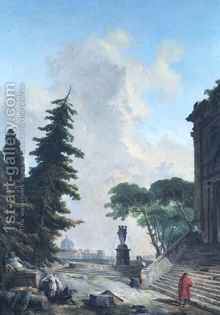 Terrace of a Roman Palace by Hubert Robert - Reproduction Oil Painting