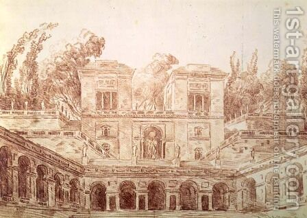 Villa Farnese, Rome by Hubert Robert - Reproduction Oil Painting