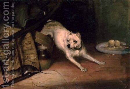 Dog Chasing a Rat by Briton Rivière - Reproduction Oil Painting