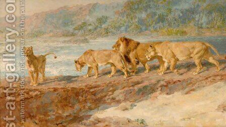 On the Bank of an African River, 1918 by Briton Rivière - Reproduction Oil Painting
