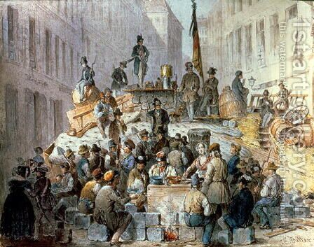 Barricades in Marzstrasse, Vienna, 1848 by Edouard Ritter - Reproduction Oil Painting