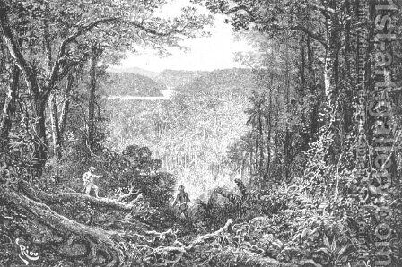 The Source of the Oyapock, engraved by A. Kohl, page 199 from Voyages in South America by J. Crevaux, 1883 by Edouard Riou - Reproduction Oil Painting