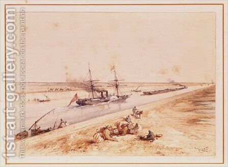 A Turkish Paddle Steamer Going Up the Suez Canal, from a souvenir album to commemorate the Voyage of Empress Eugenie 1826-1920 at the Inauguration in 1869 by Edouard Riou - Reproduction Oil Painting
