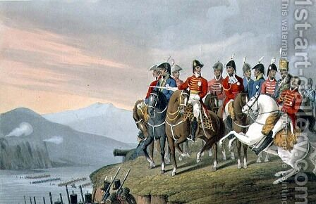 The Duke of Wellington and his Staff Crossing the Bidassoa and Entering France, 1813, engraved by Matthew Dubourg fl.1813-20 from Historic, Military and Naval Anecdotes, pub. by Edward Orme 1774-c.1820 1818 by (after) Rigaud, Stephen Francis Dutihl - Reproduction Oil Painting