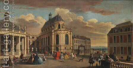 View of the Chapel of the Chateau de Versailles from the Courtyard by Jacques Rigaud - Reproduction Oil Painting