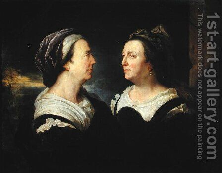 Double Portrait of Marie Serre, the artists mother, 1695 by Hyacinthe Rigaud - Reproduction Oil Painting