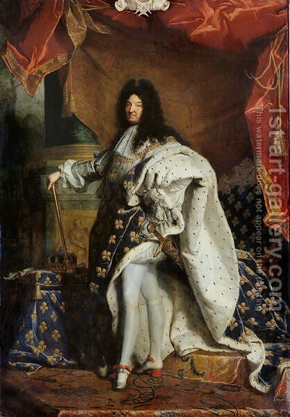 Louis XIV 1638-1715 in Royal Costume, 1701 by Hyacinthe Rigaud - Reproduction Oil Painting