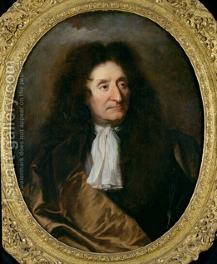 Portrait of Jean de La Fontaine 1621-95 by Hyacinthe Rigaud - Reproduction Oil Painting