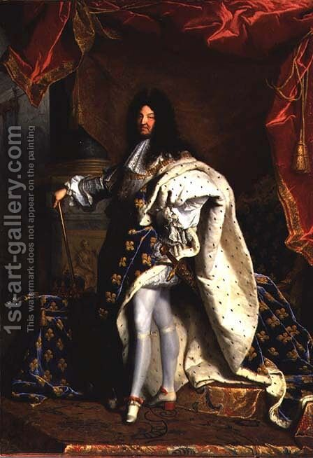 Louis XIV 1638-1715 in Royal Costume, 1701 2 by Hyacinthe Rigaud - Reproduction Oil Painting