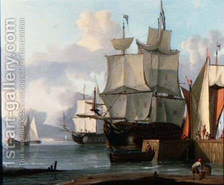 Dutch Men oWar Moored to a Quayside by Jan Claes Rietschoof - Reproduction Oil Painting