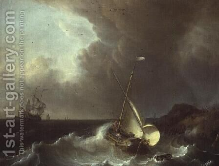Galleon in Stormy Seas by Jan Claes Rietschoof - Reproduction Oil Painting