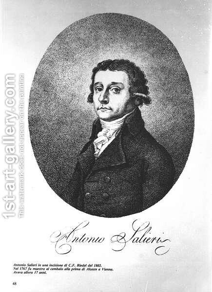 Antonio Salieri 1750-1825, Austrian composer, 1802 by C.F. Riedel - Reproduction Oil Painting