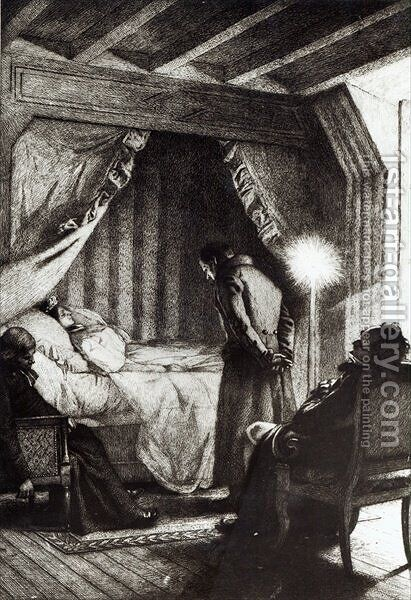 The Death of Emma Bovary from Madame Bovary by Gustave Flaubert, engraved by Carlo Chessa 1855-1925, 1906 by (after) Richemont, Alfred Paul Marie - Reproduction Oil Painting