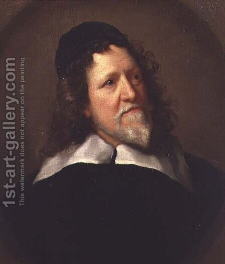 Portrait of Inigo Jones wearing a black tunic and cap by (after) Richardson. Jonathan - Reproduction Oil Painting