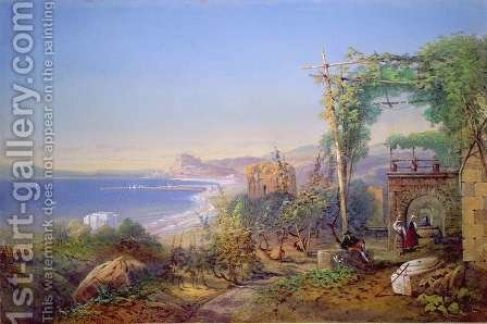 Castille and the Bay of Baia, Pozzuoli, 1866 by Edward M. Richardson - Reproduction Oil Painting