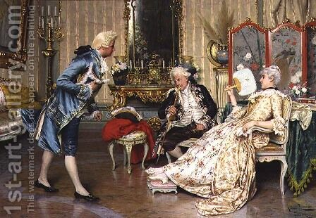The Younger Suitor by Arturo Ricci - Reproduction Oil Painting
