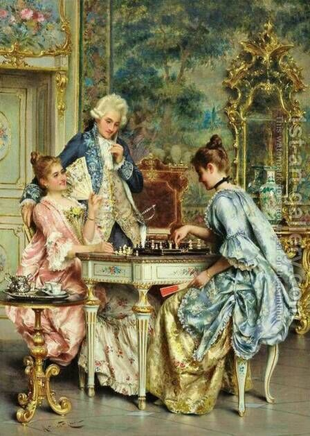 The Game of Chess by Arturo Ricci - Reproduction Oil Painting