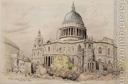 St. Pauls from Cannon Street after Bombing, 1946 by Henry J. Reynolds - Reproduction Oil Painting