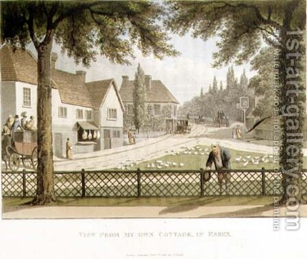 View from My Own Cottage in Essex Before from Fragments on the Theory and Practice of Landscape Gardening, pub. 1816 by Humphry Repton - Reproduction Oil Painting