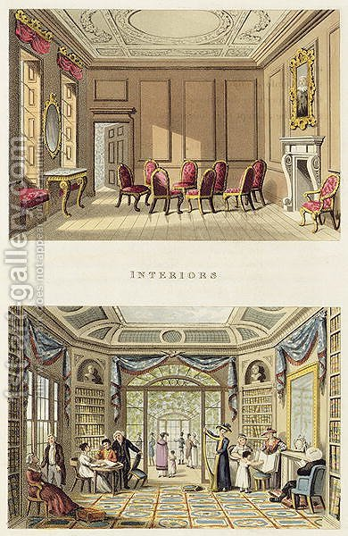 Interiors The Old Cedar Parlour and The Modern Living Room, from Fragments on the Theory and Practice of Landscape Gardening, pub. 1816 by Humphry Repton - Reproduction Oil Painting
