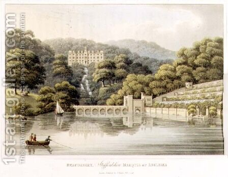 Beaudesert, Staffordshire, from Fragments on the Theory and Practice of Landscape Gardening, pub. 1816 by Humphry Repton - Reproduction Oil Painting