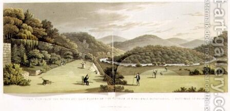 General View from the South and East Fronts of the Cottage at Endsleigh, Devon Before from Fragments on the Theory and Practice of Landscape Gardening, pub. 1816 by Humphry Repton - Reproduction Oil Painting