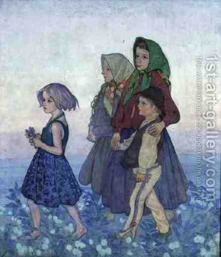 Procession of Polish Highland Children, c.1910 by Jan Rembowski - Reproduction Oil Painting