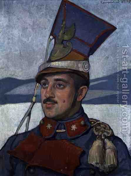 Portrait of Lieutenant Roman Machnicki 1889-1943 c.1915 by Jan Rembowski - Reproduction Oil Painting
