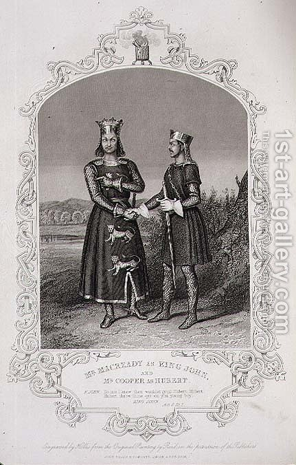 Mr Macready as King John and Mr Cooper as Hubert, Act III Scene 3 of King John, engraved by George Hollis 1792-1842 pub. by John Tallis and Co by Alexander Reid - Reproduction Oil Painting