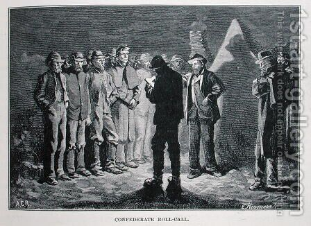 Confederate Roll-call, engraved by Ernst Heinemann 1848-1912, illustration from Battles and Leaders of the Civil War, edited by Robert Underwood Johnson and Clarence Clough Buel by (after) Redwood, Allen Carter - Reproduction Oil Painting