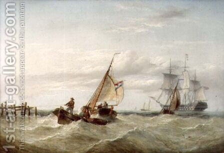 An East Indiaman and other Shipping off the Coast by Henry Redmore - Reproduction Oil Painting