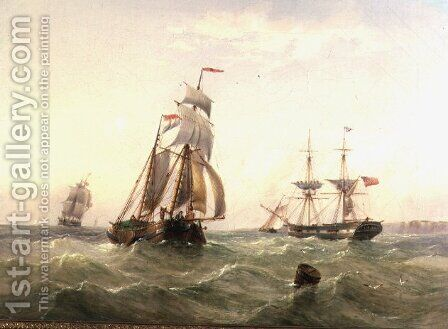 Vessels off a Coastline by Henry Redmore - Reproduction Oil Painting