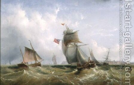 Shipping off the Coast by Henry Redmore - Reproduction Oil Painting
