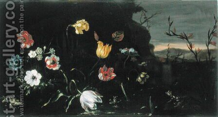 Flowers and Frogs by Giuseppe Recco - Reproduction Oil Painting