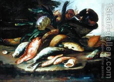 Still Life with Dead Fish and Game by Giuseppe Recco - Reproduction Oil Painting