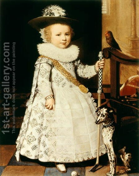 Portrait of a Young Boy with a Golf Club and Ball by Jan Anthonisz. van Ravestyn - Reproduction Oil Painting