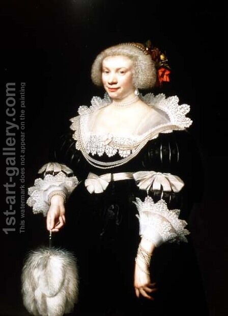 Portrait of a lady in a black dress with lace collar and cuffs, 1631 by Jan Anthonisz. van Ravestyn - Reproduction Oil Painting