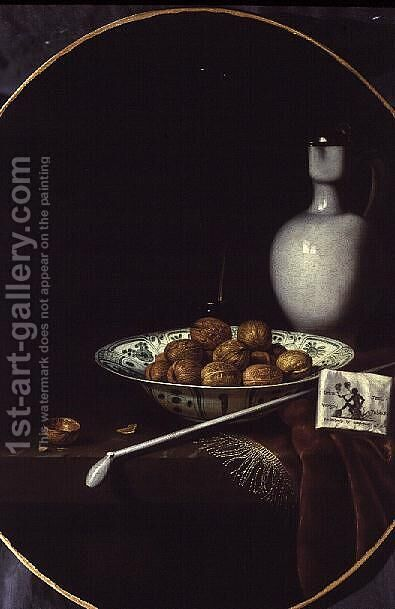 Still Life with Walnuts, Tobacco and a Clay Pipe by Hubert van Ravenstyn - Reproduction Oil Painting