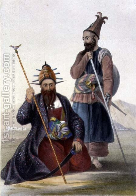 Chief Executioner and Assistant of His Majesty the Late Shah, plate 14 from Scenery, Inhabitants and Costumes of Afghanistan, engraved by Robert Carrick fl.1845 1848 by (after) Rattray, James - Reproduction Oil Painting