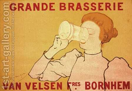 Reproduction of a poster advertising the Grande Brasserie Van Velsen, 1894 by Armand Rassenfosse - Reproduction Oil Painting
