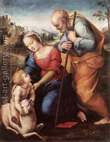 The Holy Family with the Lamb, 1507 by (after) Raphael (Raffaello Sanzio of Urbino) - Reproduction Oil Painting
