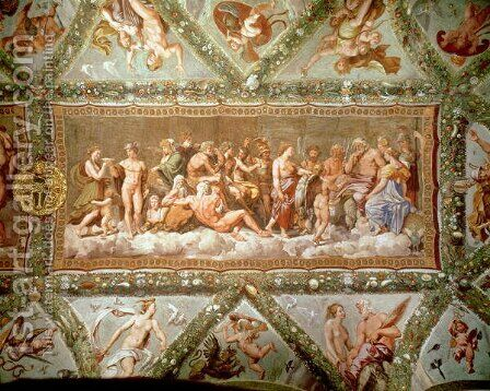 The Council of the Gods, ceiling painting of the Courtship and Marriage of Cupid and Psyche by (after) Raphael (Raffaello Sanzio of Urbino) - Reproduction Oil Painting