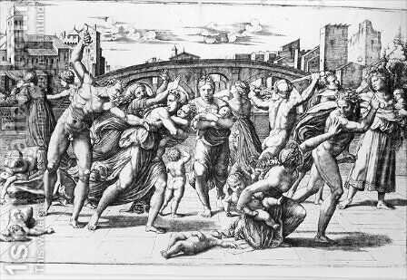 The Massacre of the Innocents, engraved by Marcantonio Raimondi by (after) Raphael (Raffaello Sanzio of Urbino) - Reproduction Oil Painting