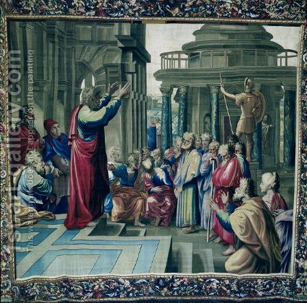 St. Paul Preaching at the Areopagus, from a series depicting the Acts of the Apostles, woven at the Beauvais Workshop under the direction of Philippe Behagle 1641-1705 1695-98 by (after) Raphael (Raffaello Sanzio of Urbino) - Reproduction Oil Painting