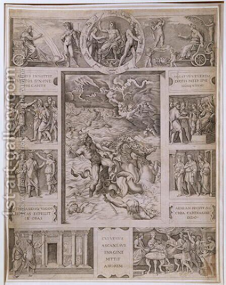 Quos Ego, Neptune Calming the Storm, with borders showing further scenes from Virgils Aeneid, engraved by Marcantonio Raimondi 1480-1534 c.1515-16 by (after) Raphael (Raffaello Sanzio of Urbino) - Reproduction Oil Painting